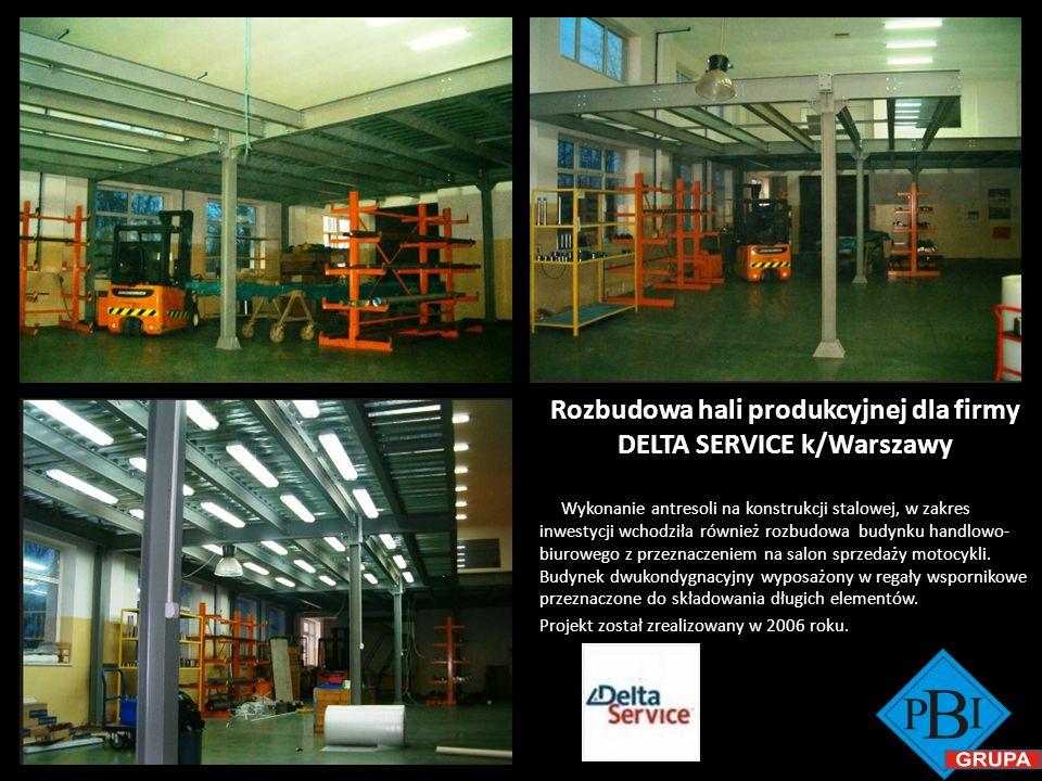 Rozbudowa hali produkcyjnej dla firmy DELTA SERVICE k/Warszawy