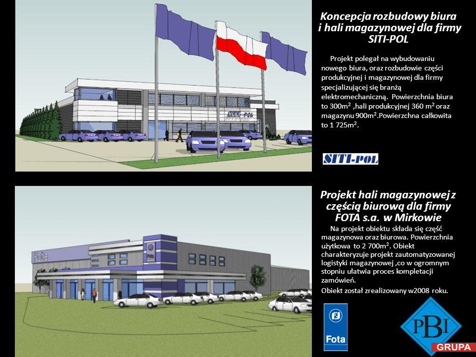 Koncepcja rozbudowy biura i hali magazynowej dla firmy SITI-POL