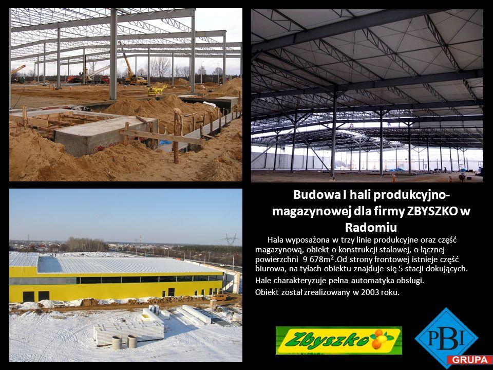 Budowa I hali produkcyjno-magazynowej dla firmy ZBYSZKO w Radomiu
