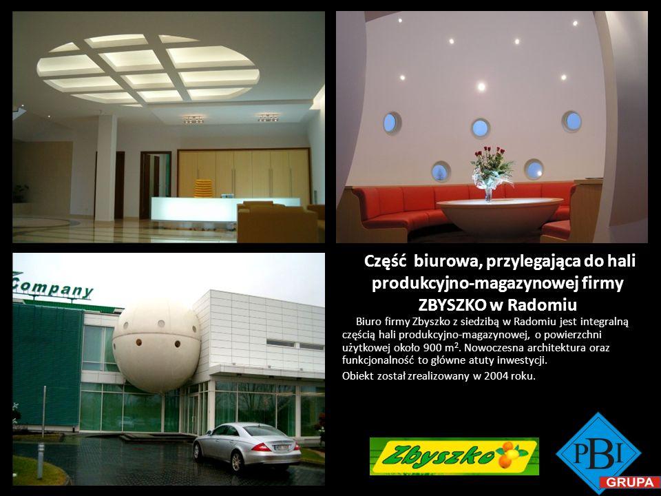 Część biurowa, przylegająca do hali produkcyjno-magazynowej firmy ZBYSZKO w Radomiu