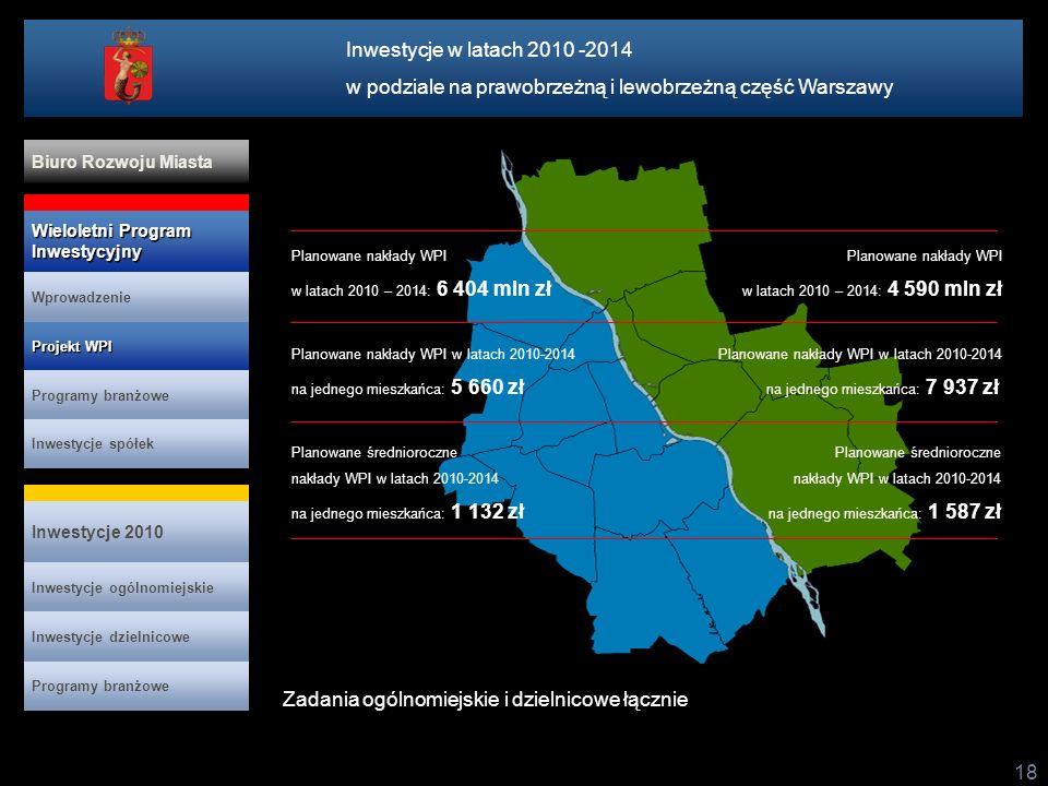 w podziale na prawobrzeżną i lewobrzeżną część Warszawy