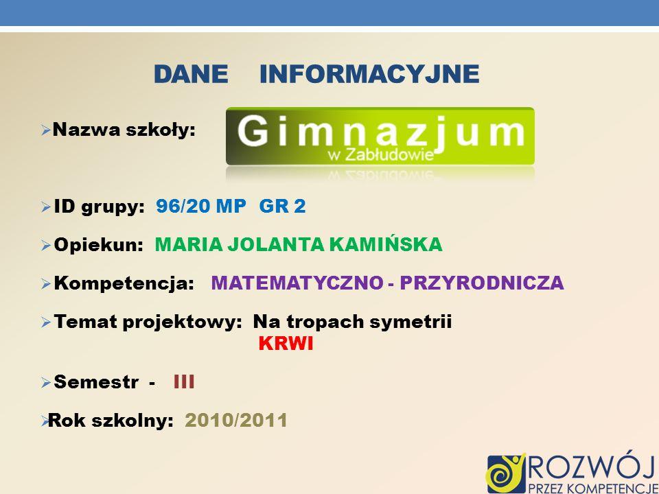 Dane INFORMACYJNE Nazwa szkoły: ID grupy: 96/20 MP GR 2