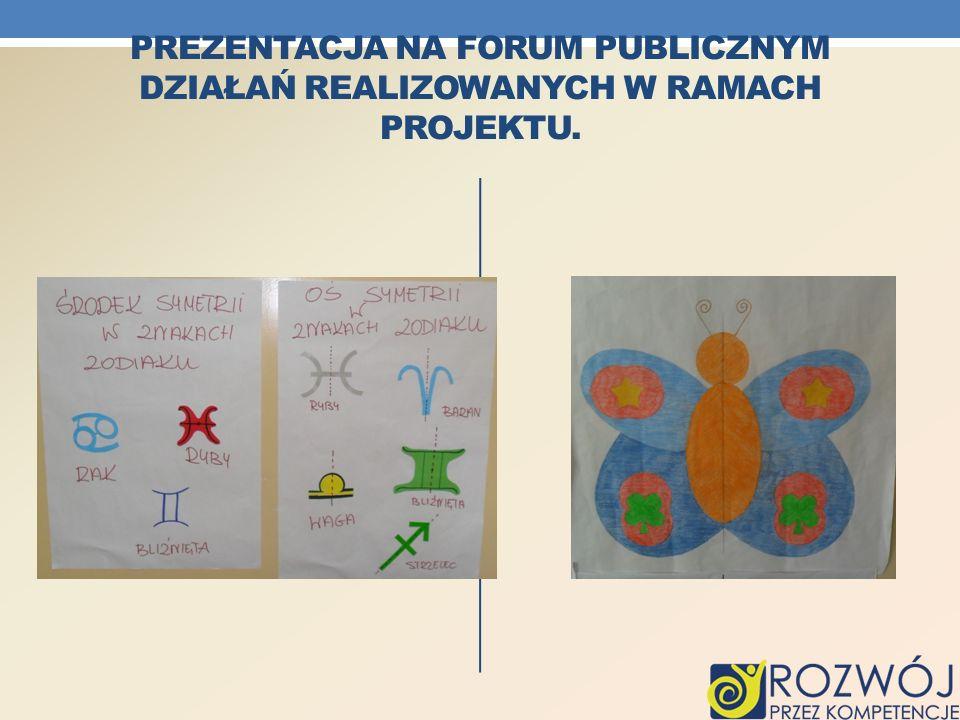 Prezentacja na forum publicznym działań realizowanych w ramach projektu.