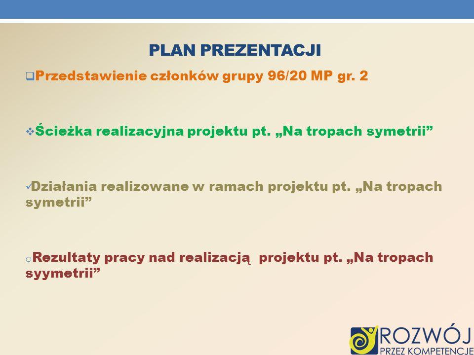 plan prezentacji Przedstawienie członków grupy 96/20 MP gr. 2
