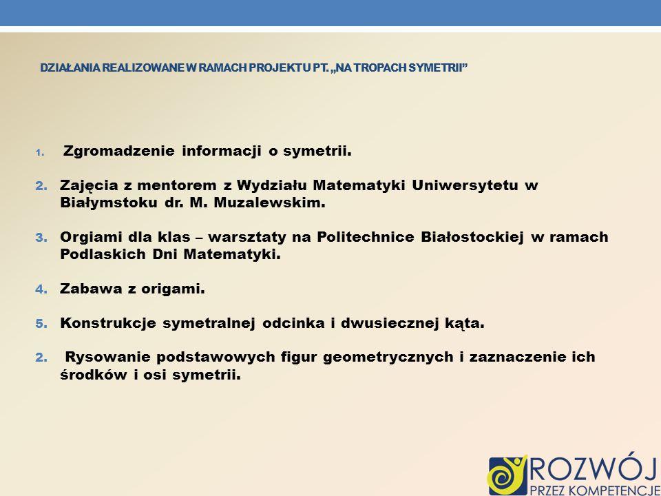 """Działania realizowane w ramach projektu pt. """"Na tropach symetrii"""
