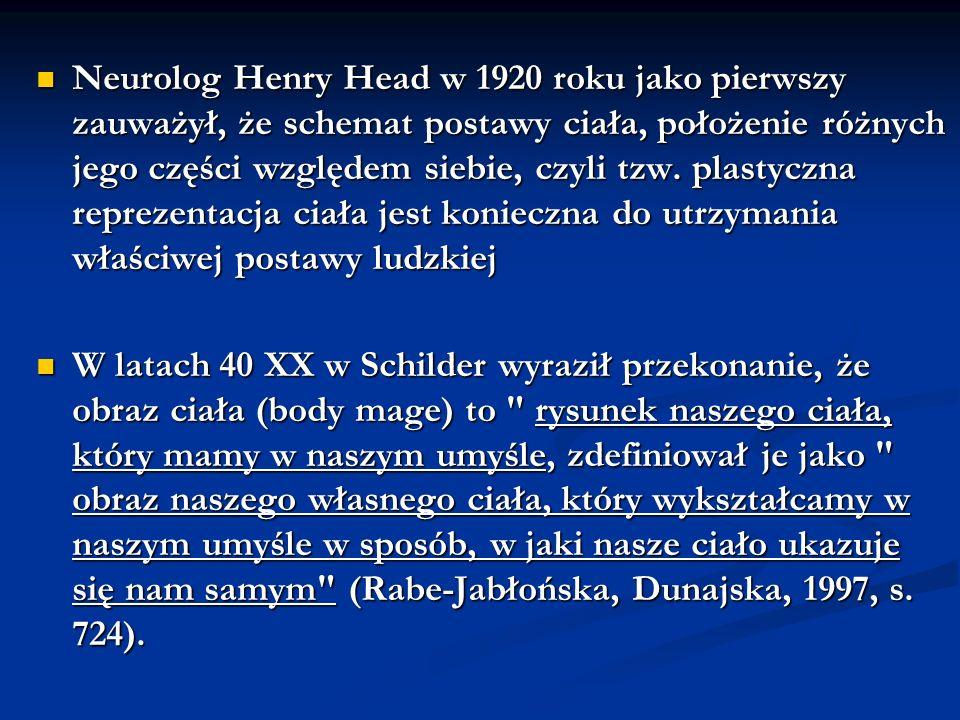 Neurolog Henry Head w 1920 roku jako pierwszy zauważył, że schemat postawy ciała, położenie różnych jego części względem siebie, czyli tzw. plastyczna reprezentacja ciała jest konieczna do utrzymania właściwej postawy ludzkiej