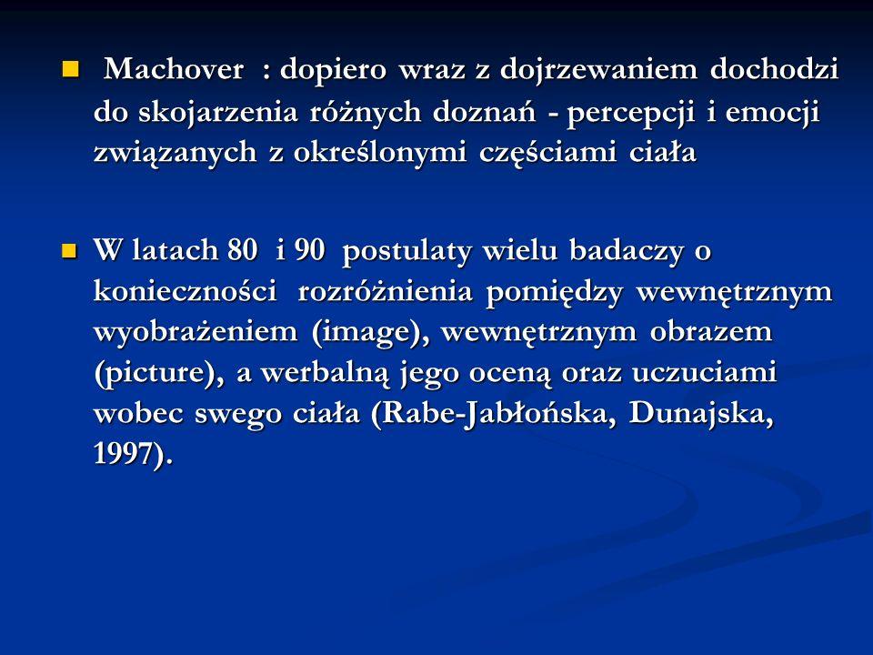 Machover : dopiero wraz z dojrzewaniem dochodzi do skojarzenia różnych doznań - percepcji i emocji związanych z określonymi częściami ciała