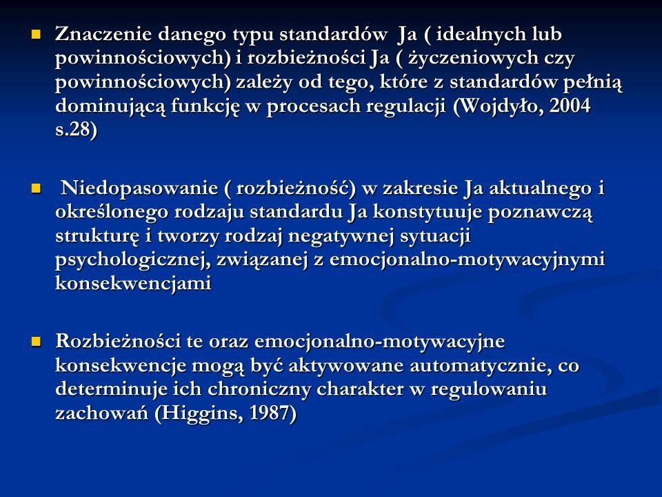 Znaczenie danego typu standardów Ja ( idealnych lub powinnościowych) i rozbieżności Ja ( życzeniowych czy powinnościowych) zależy od tego, które z standardów pełnią dominującą funkcję w procesach regulacji (Wojdyło, 2004 s.28)