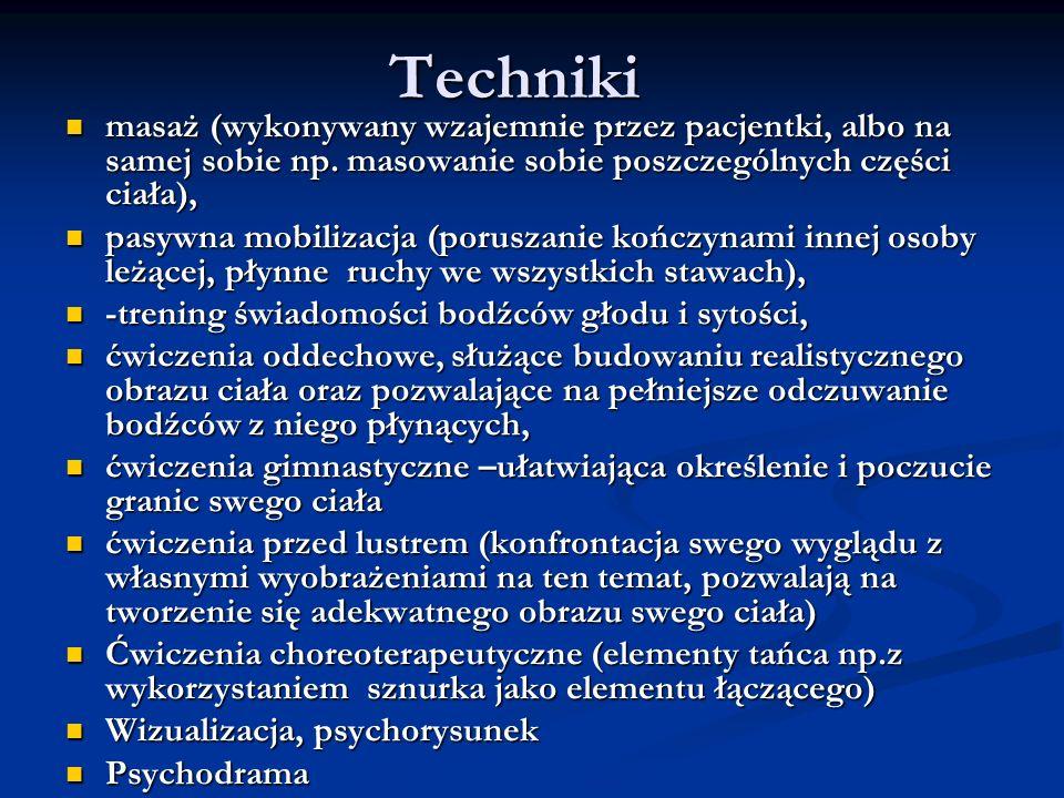 Technikimasaż (wykonywany wzajemnie przez pacjentki, albo na samej sobie np. masowanie sobie poszczególnych części ciała),