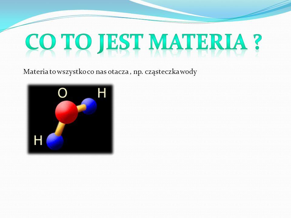 Co to jest materia Materia to wszystko co nas otacza , np. cząsteczka wody