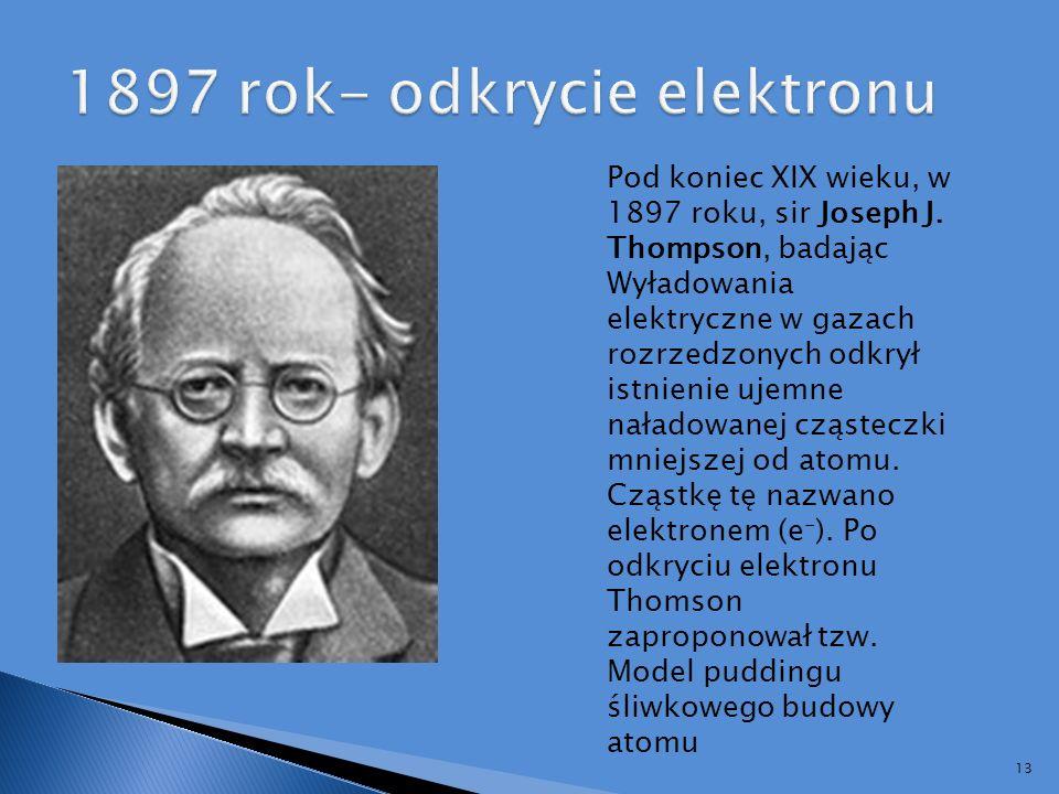 1897 rok- odkrycie elektronu