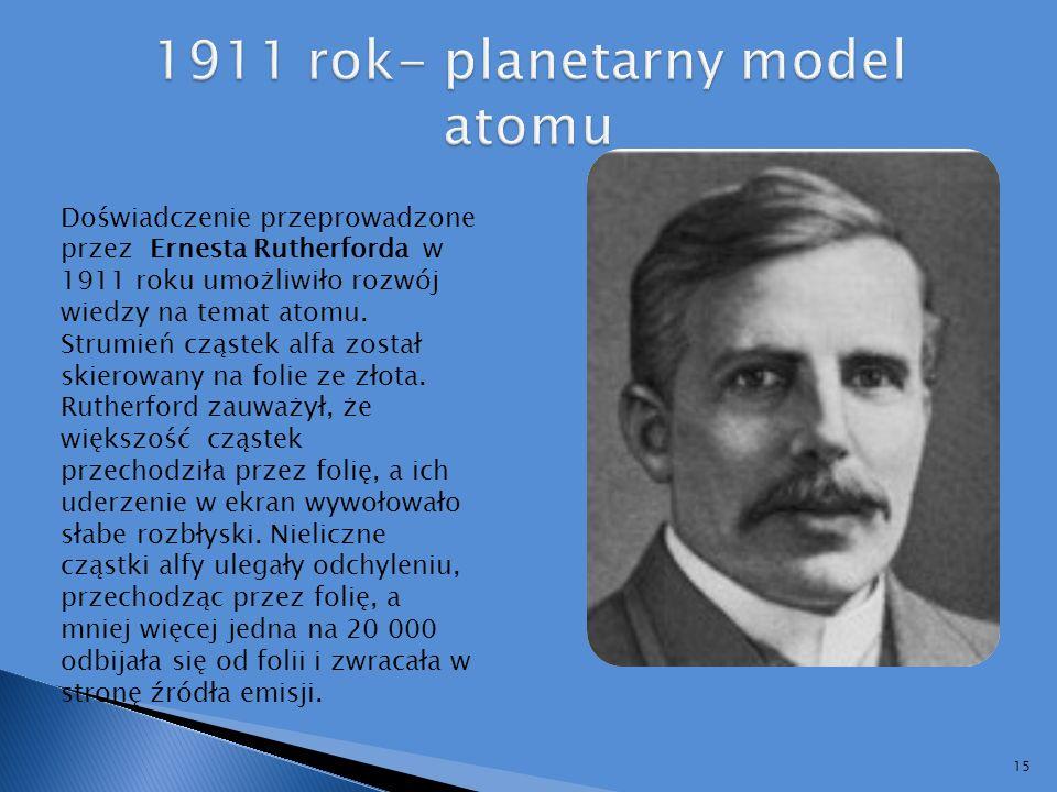 1911 rok- planetarny model atomu