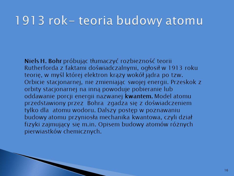 1913 rok- teoria budowy atomu