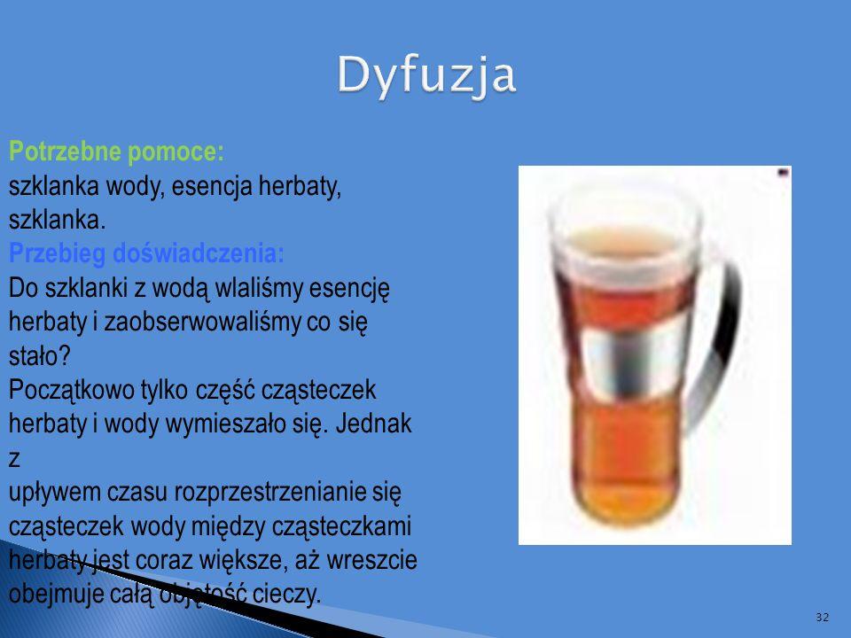 Dyfuzja Potrzebne pomoce: szklanka wody, esencja herbaty, szklanka.
