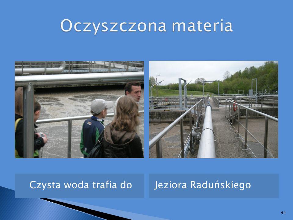 Oczyszczona materia Czysta woda trafia do Jeziora Raduńskiego