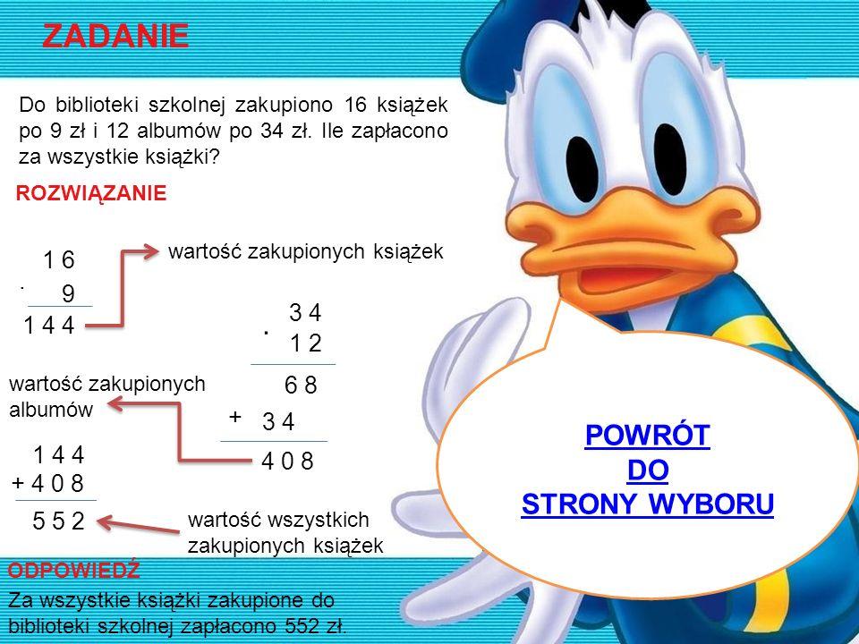 ZADANIE · POWRÓT DO STRONY WYBORU 1 6 · 9 3 4 1 4 4 1 2 6 8 + 3 4