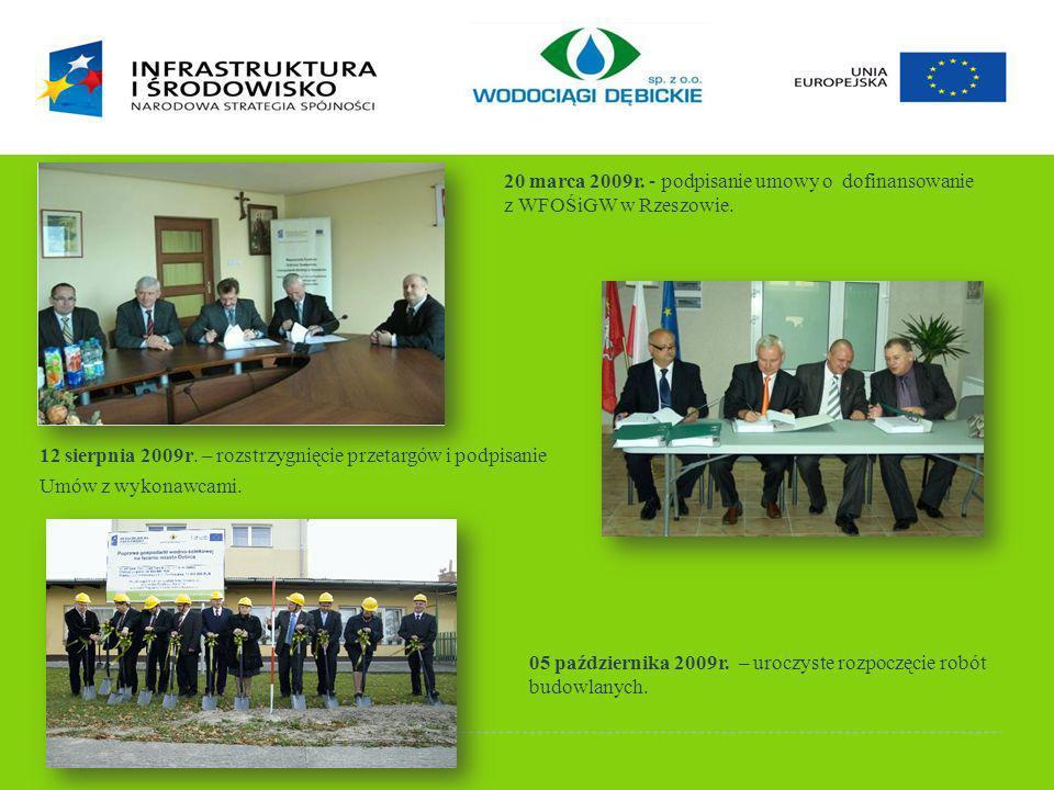 HISTORIA PROJEKTU 20 marca 2009r. - podpisanie umowy o dofinansowanie. z WFOŚiGW w Rzeszowie.