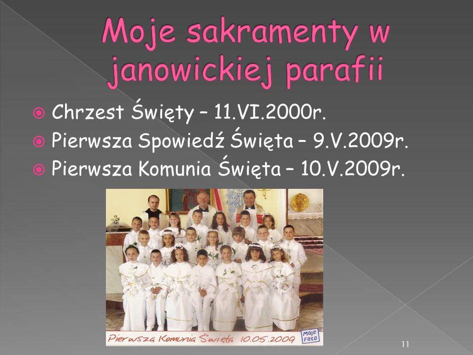 Moje sakramenty w janowickiej parafii