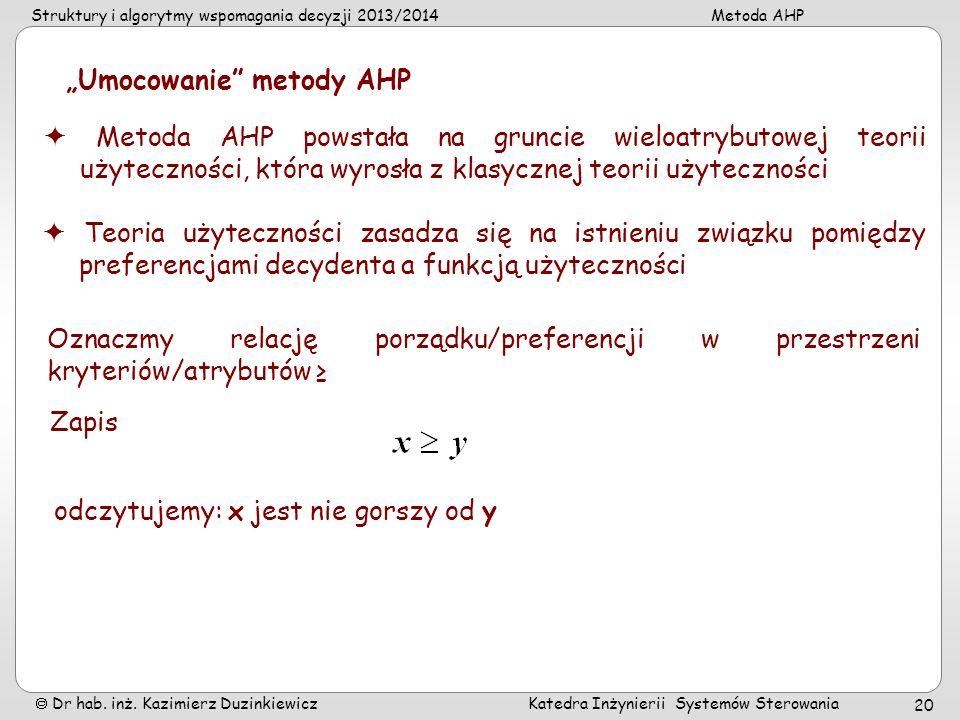 """""""Umocowanie metody AHP"""
