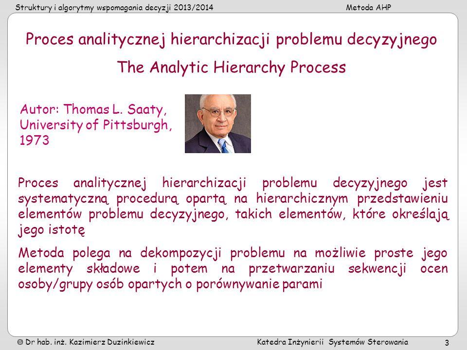Proces analitycznej hierarchizacji problemu decyzyjnego