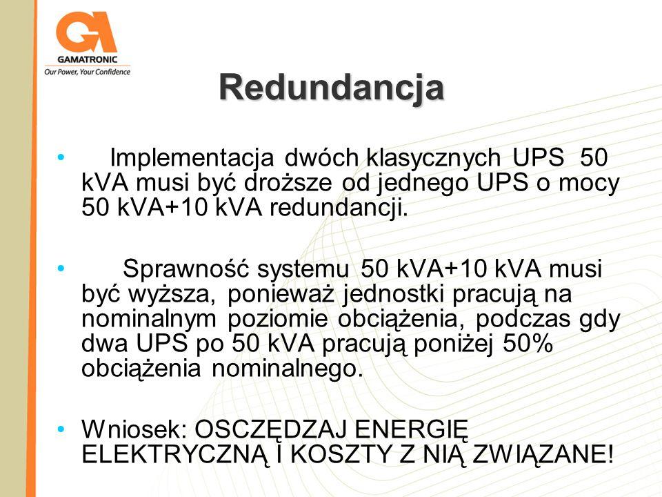 Redundancja Implementacja dwóch klasycznych UPS 50 kVA musi być droższe od jednego UPS o mocy 50 kVA+10 kVA redundancji.