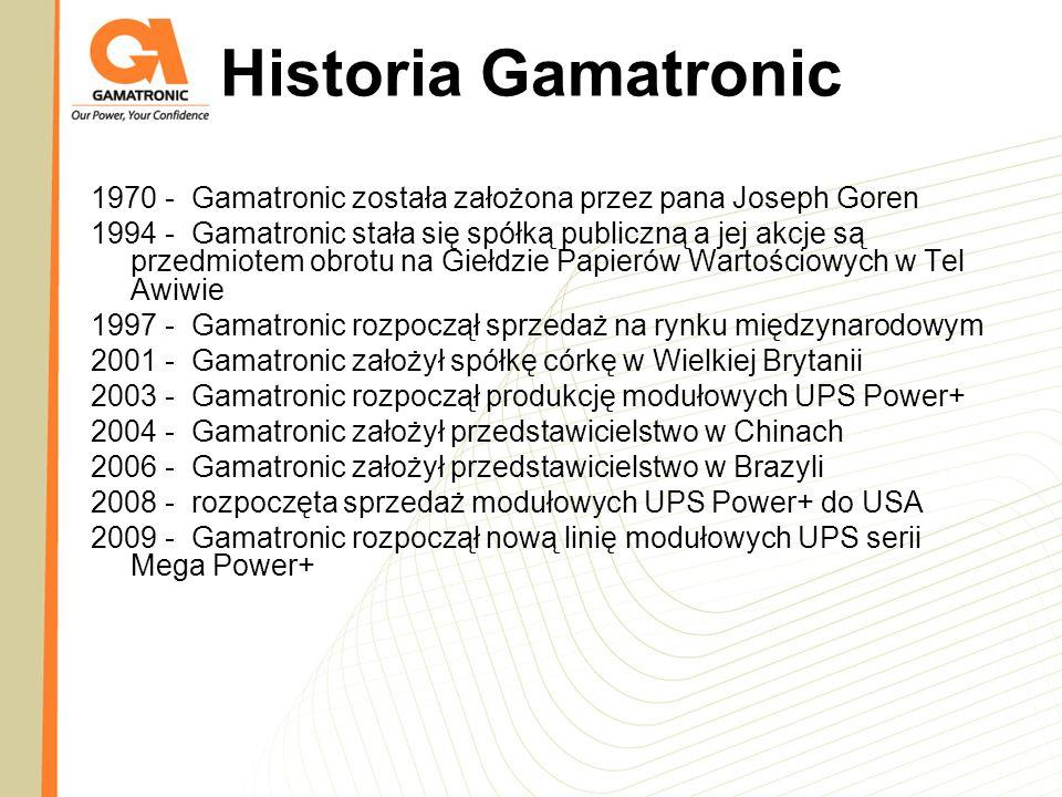 Historia Gamatronic 1970 - Gamatronic została założona przez pana Joseph Goren.