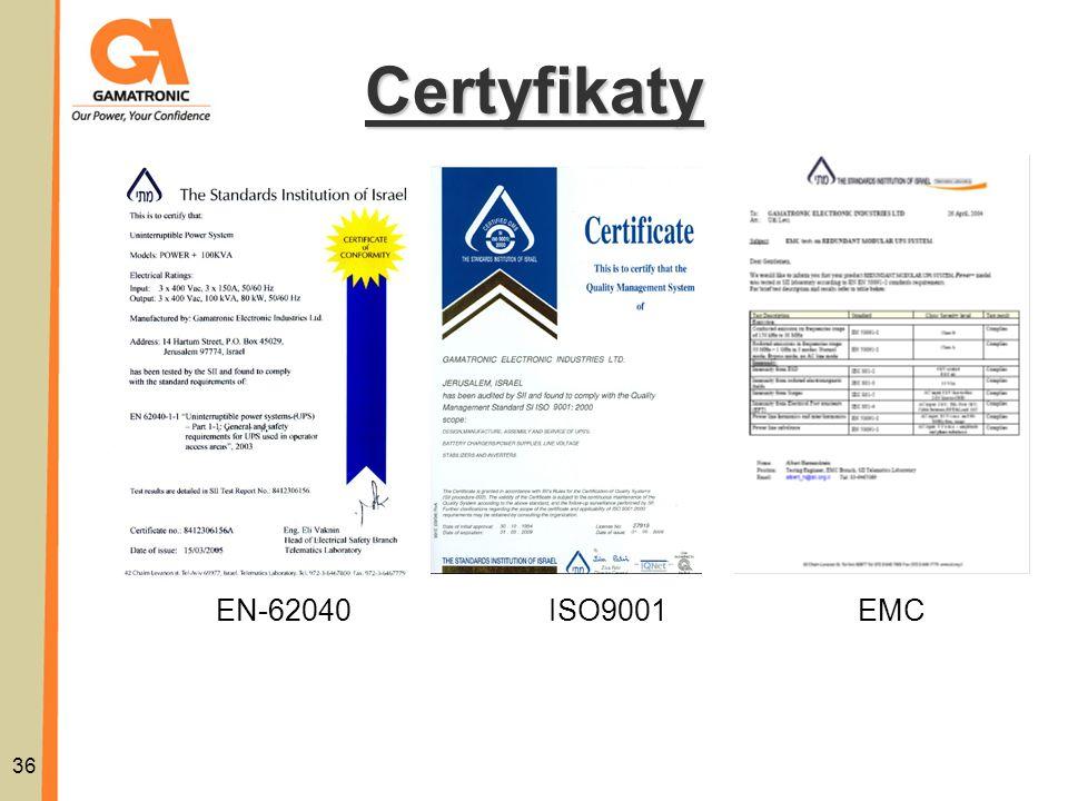 Certyfikaty EN-62040 ISO9001 EMC 36 36
