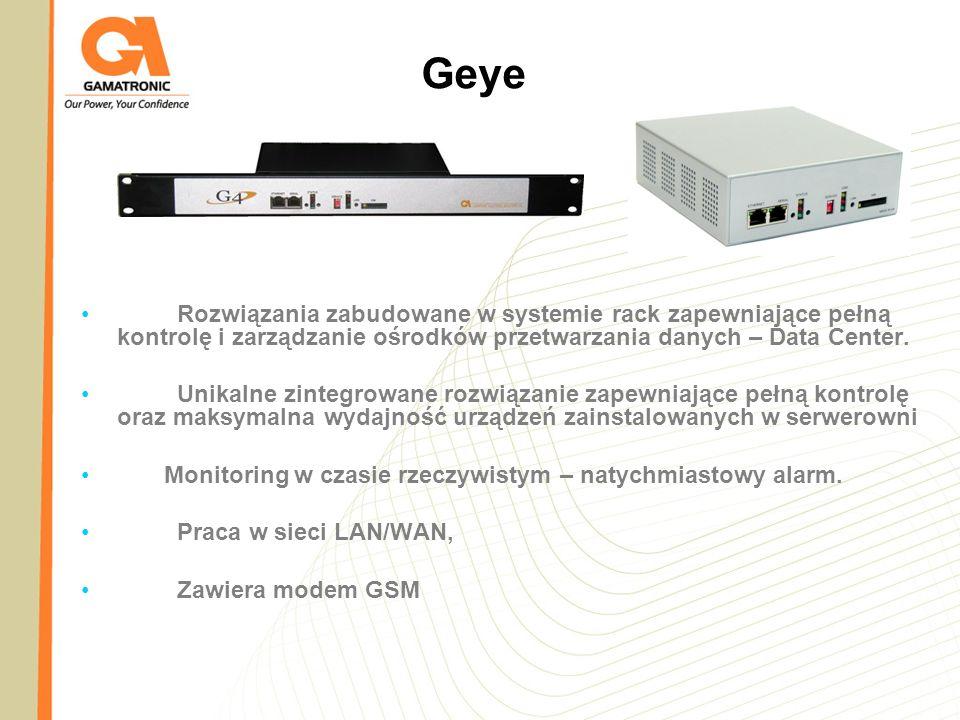 Geye Rozwiązania zabudowane w systemie rack zapewniające pełną kontrolę i zarządzanie ośrodków przetwarzania danych – Data Center.