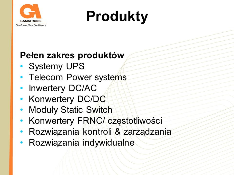 Produkty Pełen zakres produktów Systemy UPS Telecom Power systems