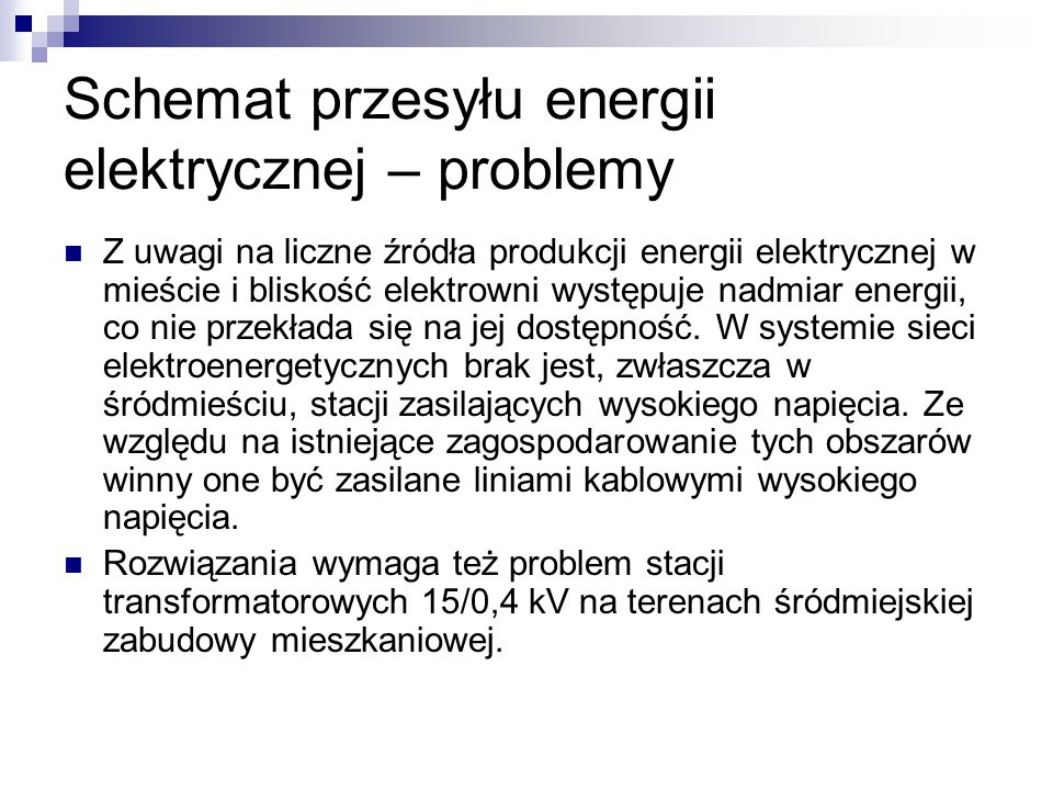 Schemat przesyłu energii elektrycznej – problemy