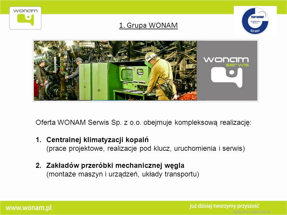 1. Grupa WONAM Oferta WONAM Serwis Sp. z o.o. obejmuje kompleksową realizację: Centralnej klimatyzacji kopalń.