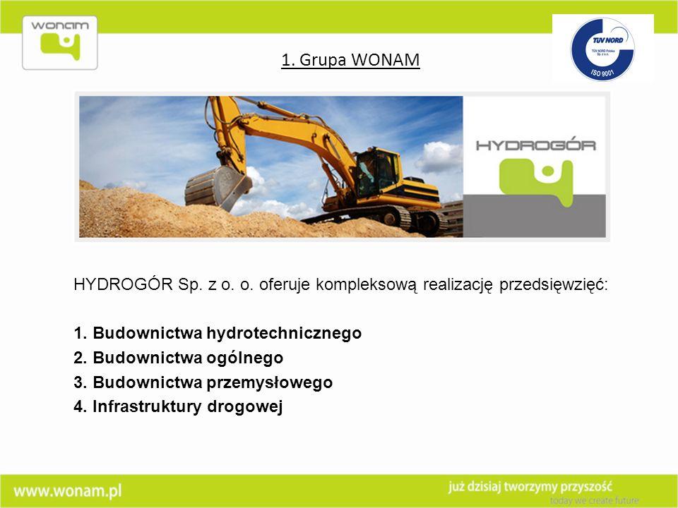 1. Grupa WONAM HYDROGÓR Sp. z o. o. oferuje kompleksową realizację przedsięwzięć: 1. Budownictwa hydrotechnicznego.