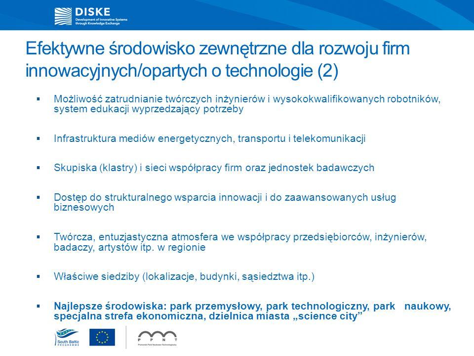Efektywne środowisko zewnętrzne dla rozwoju firm innowacyjnych/opartych o technologie (2)