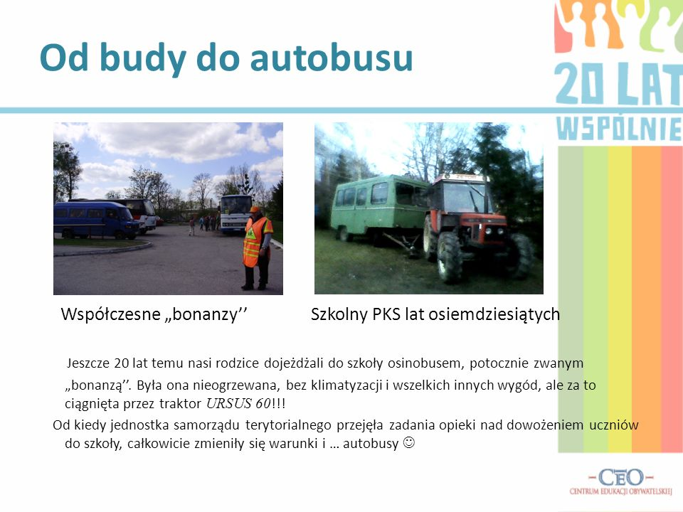 """Od budy do autobusu Współczesne """"bonanzy'' Szkolny PKS lat osiemdziesiątych."""