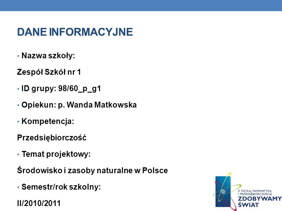 Dane INFORMACYJNE Nazwa szkoły: Zespół Szkół nr 1 ID grupy: 98/60_p_g1