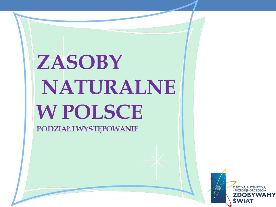 ZASOBY NATURALNE W POLSCE Podział i występowanie