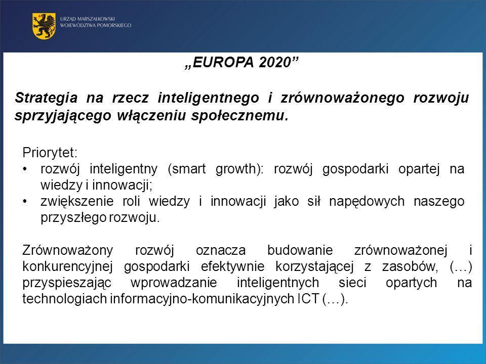 """""""EUROPA 2020 Strategia na rzecz inteligentnego i zrównoważonego rozwoju sprzyjającego włączeniu społecznemu."""
