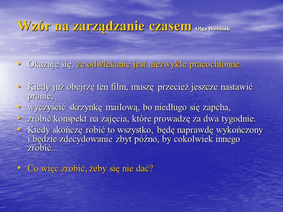 Wzór na zarządzanie czasem Olga Woźniak