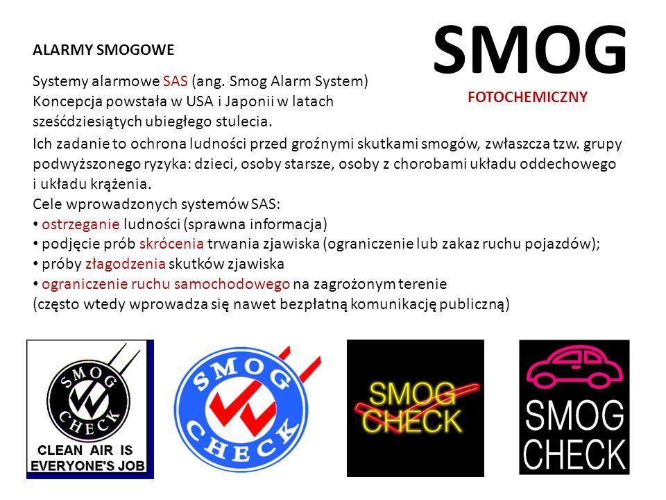 SMOG ALARMY SMOGOWE Systemy alarmowe SAS (ang. Smog Alarm System)