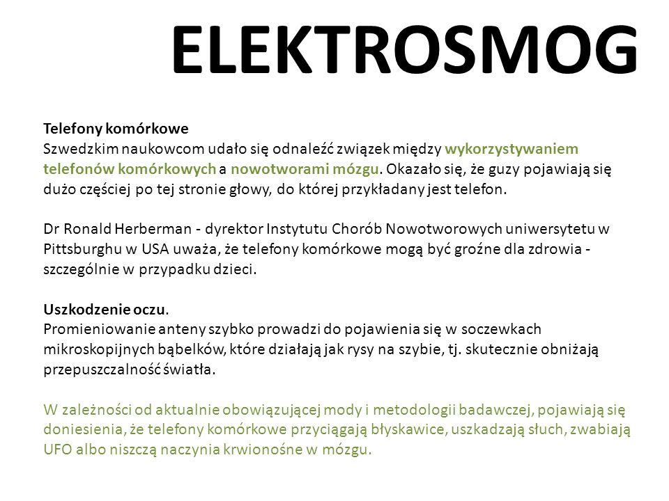 ELEKTROSMOG Telefony komórkowe