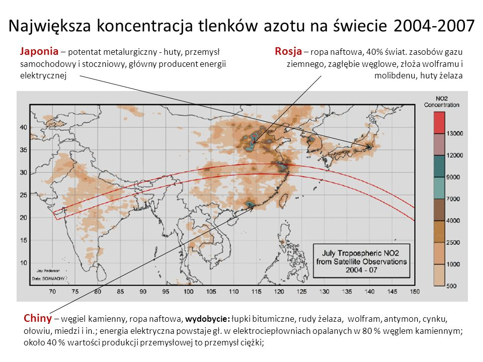 Największa koncentracja tlenków azotu na świecie 2004-2007