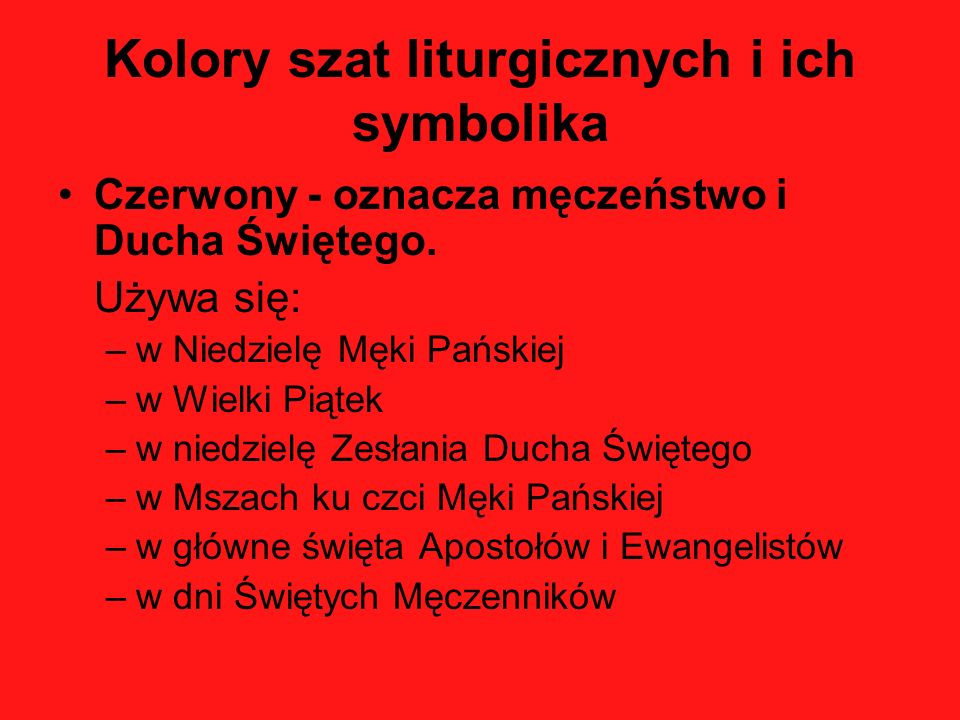 Kolory szat liturgicznych i ich symbolika