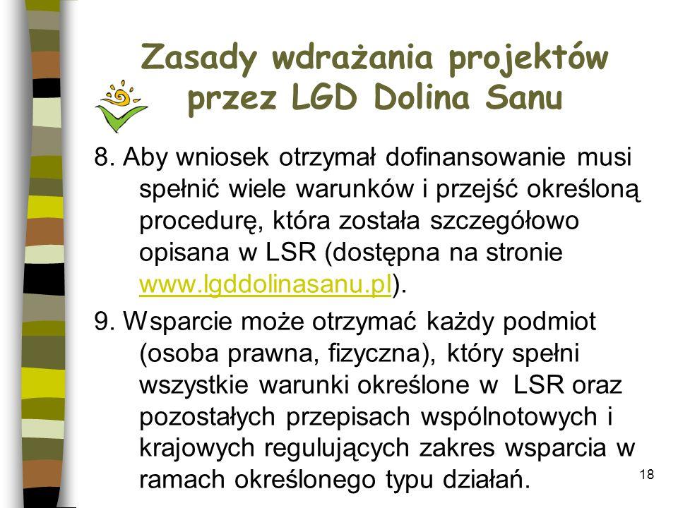 Zasady wdrażania projektów przez LGD Dolina Sanu