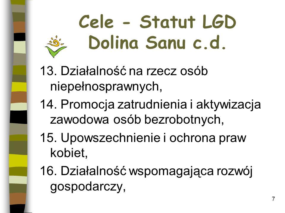 Cele - Statut LGD Dolina Sanu c.d.