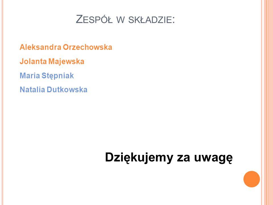 Dziękujemy za uwagę Zespół w składzie: Aleksandra Orzechowska