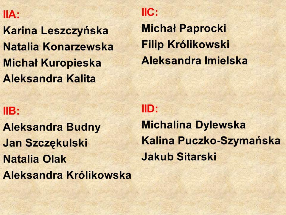 IIC: Michał Paprocki. Filip Królikowski. Aleksandra Imielska. IID: Michalina Dylewska. Kalina Puczko-Szymańska.