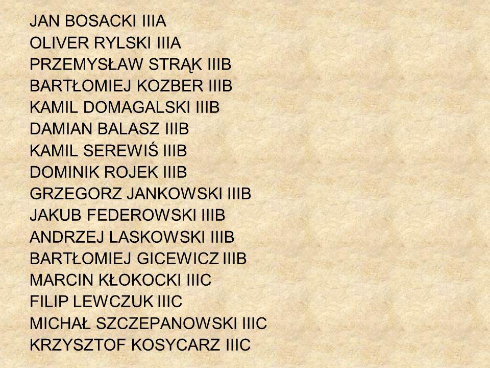 JAN BOSACKI IIIA OLIVER RYLSKI IIIA. PRZEMYSŁAW STRĄK IIIB. BARTŁOMIEJ KOZBER IIIB. KAMIL DOMAGALSKI IIIB.