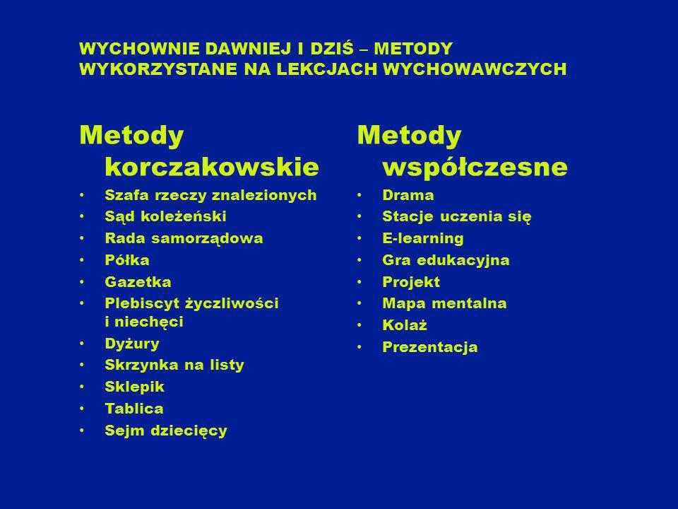 Metody korczakowskie Metody współczesne