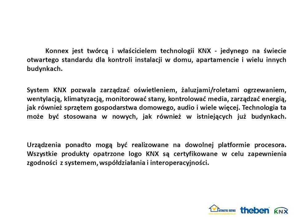Konnex jest twórcą i właścicielem technologii KNX - jedynego na świecie otwartego standardu dla kontroli instalacji w domu, apartamencie i wielu innych budynkach.