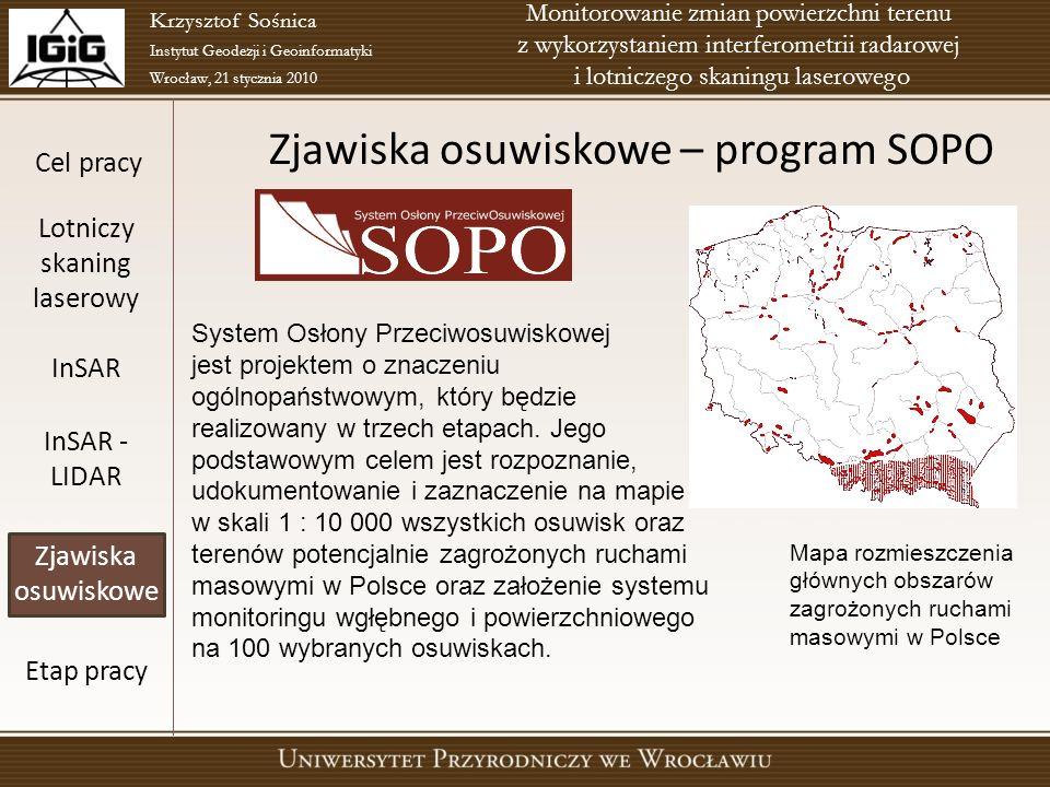 Zjawiska osuwiskowe – program SOPO